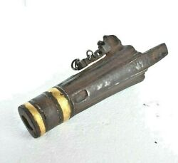 16and039c Old Mughal Antique Strong Iron Rare Gold And Silver Work War Use Hand Cannon