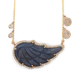 Solid 14k Gold Blue Sapphire And Natural Diamond 18 Chain Necklace