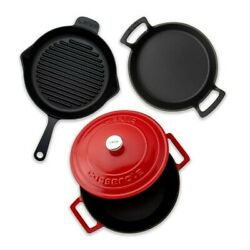 Lava Kitchen Picnic Camping Iron Casting Grill And Cookware 4 Pcs Set Red Color