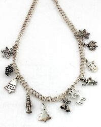 Christmas Sterling Silver Santa Reindeer Snowman Snowflake 11 Charm Necklace New