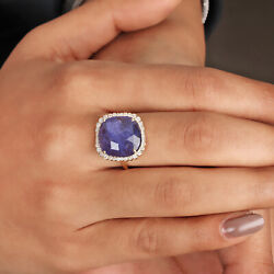 Solid 14k Yellow Gold Tanzanite Gemstone And Natural Diamond Ring In Standard Us 7