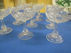 Vintage French Baccarat 12 Cut Crystal Footed Champagnes Cobert