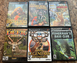 Cabelas Deer Hunting And Bass Fishing Ps2 Games Lot Of 5
