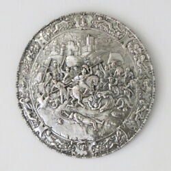 Antique German Wmf Silver Plated Round Shield Hanging Wall Plaque Plate Battle