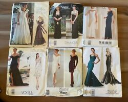 Lot Of 6 Vogue Vintage Evening Gown Dress Sewing Patterns Free Shipping