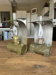 Pair Rare Vintage Spco Railroad Caboose Wall Lanterns Plume And Atwood And Adlake