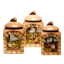 Canister Set 3 Piece Earthenware Italian Rustic Tuscan View Glazed