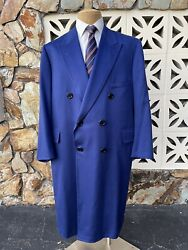Holland And Sherry Full Length Overcoat 100 Cashmere Royal Blue Bespoke Size 50
