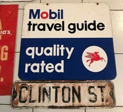 Original Advertising Car Auto Gas Oil Sign Mobil Travel Guide 2 Sided Pegasus