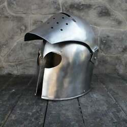 Medieval Knight Barbute With Visor Helmet Armour Warrior Closed Costume Gift