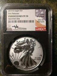 2019 S Enhanced Reverse Proof Silver Eagle First Release 70 Signed Mercanti Ngc