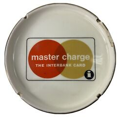 Vintage Master Charge Credit Card The Interbank Card Ash Tray Gold Edge Chipped