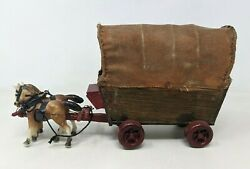 Vtg Handmade Plastic Horse Drawn Wooden Covered Wagon Western Toy Figure