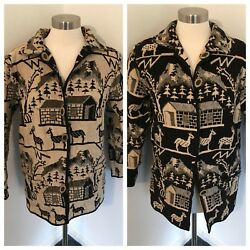 Parsley And Sage Small Jacket 100 Cotton Reversible Deer House Tree Pastoral