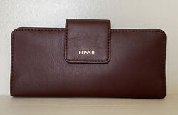 New Fossil Madison zip clutch wristlet Leather wallet Claret Red $49.00