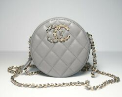 Auth Clutches With Chain Gray Round Gold Silver Shiny Caviar Leather