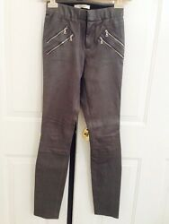 Auth. Nwt- J Brand Claudette Stretch Lambskin Leather Pants Size 0, Granite