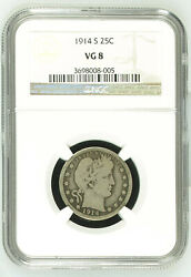 1914-s Barber Quarter 25c - Ngc Very Good Vg 8 - Semi Key Date Collector Coin