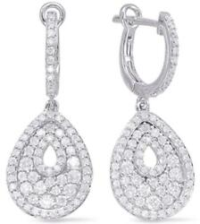 Large 1.25ct Diamond 14kt White Gold Tear Drop Pave Leverback Hanging Earrings