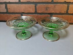 Pair Of Stunning Green Glass Compotes With Sterling Silver Overlay
