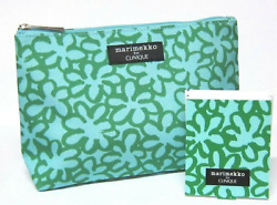 Clinique Marimekko TEAL Cosmetic Bag amp; Matching Mirror LIMIT EDITION NEW $8.29