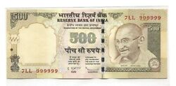 India 2010 500 Rupees Rare Triple Prefix Solid Number 7lll 999999