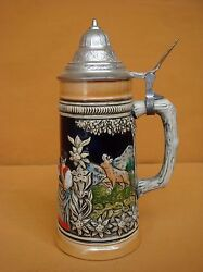 Rare Beatutuful Beer Stein Porcelain Mug Hand Painted West Germany 19thc
