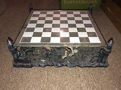 Vintage Chess Set Dragon Pieces And Display Tiered Glass Gold/silver Local Pick Up