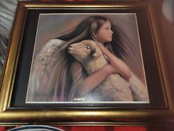 Framed Nancy Noel Angel Of Peace Hand Signed And Dated 8.75 X 7