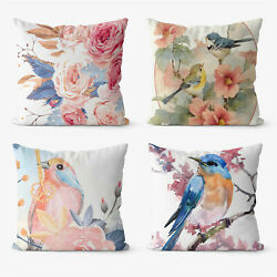 Illustration Flower Bird 4 Pieces Two Sides Printed Cushion Pillow Case Cover
