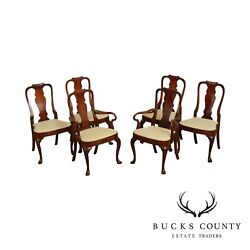 Hickory Chair Mahogany Queen Anne Set 6 Dining Chairs