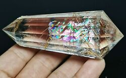 14 Side Golden Hair Rutilated Quartz Natural Vogel Inspired Crystal Double Wand