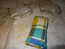 Vintage Cat Eye Glasses By Flair Aluminum 44-20 2 Pair Silver And Two Tone