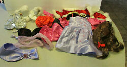 Lot Of Build A Bear Outfits Can Can Winter Ice Skating Dress Wig Shoes