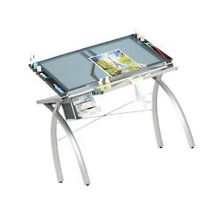 Futura Crafting Drafting Drawing Table With Adjustable Top Silver And Blue...