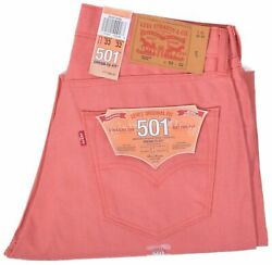 501 Mens Button Fly Shrink To Fit Salmon Pink Red Denim Jeans