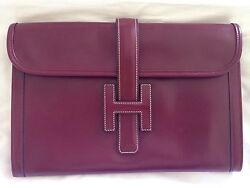 Auth Pre-loved Hermes Jige Pm Rouge H Box Calf Leather Clutch Bag Vintage