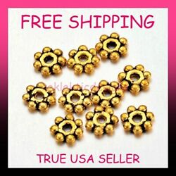 4mm 100pcs Antique Gold Plated Alloy Tibetan Style Daisy Spacer Beads Free Ship
