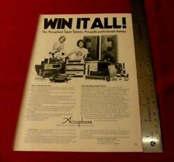 Vintage 1977 Accuphase Super System Stereos Print Ad Win It All