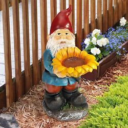 New Large Tall Garden Gnome Holding Yellow Orange Sunflower Head Outdoor Statue