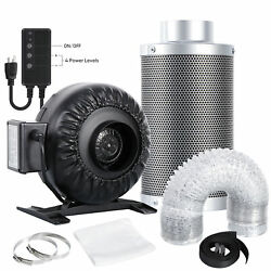 4 Inline Fan Carbon Air Filter Ducting Combo For Hydroponic Indoor Grow Plants