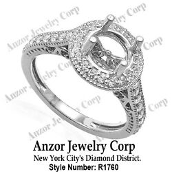 14k Solid White Gold Pave .60cwt G-vs2 Diamond Engagement Ring Setting R1760