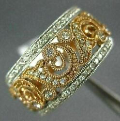 Estate Wide .36ct Diamond 14kt White And Rose Gold Open Filigree Anniversary Ring