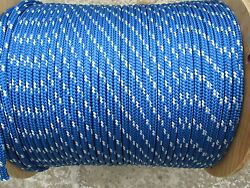 3/8 X 100 Halyard Sail Lineanchor Rope Polyester Double Braid 4800 Usa Blue