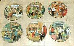6 Tuscan Storefronts Guy Buffet Dinner Plate Plates 10.75 1997