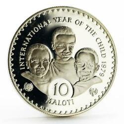 Lesotho 10 Maloti International Year Of The Child Proof Silver Coin 1979