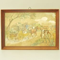 19c Antique English French Watercolor Pencil Drawing On Paper Frame Horse Wagon