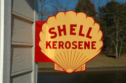 Old Style Shell Kerosene Oil Diecut Thick Steel Flange Sign Made In Usa