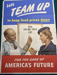 Original 1944 Wwii Poster Letand039s Team Up To Keep Food Prices Down 20 By 28