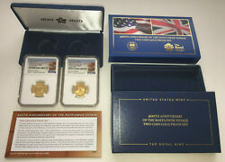 2020 400th Anniversary Of The Mayflower Voyage Us And Uk Gold Set Ngc Pf70 Uc Fr